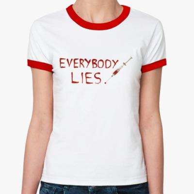 Женская футболка Ringer-T Everybody Lies RingerTж(б/к)