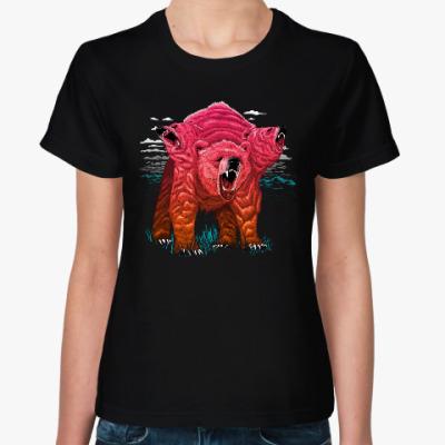 Женская футболка Трёхголовый Медведь