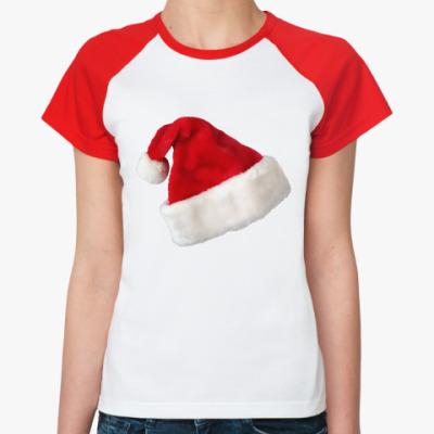 Женская футболка реглан Новогодняя шапка