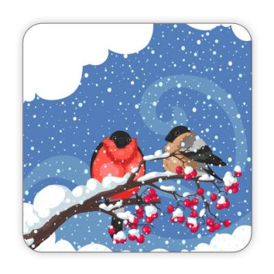 Костер (подставка под кружку) Снегири на рябине
