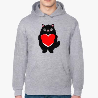 Толстовка худи Кот и большое сердце