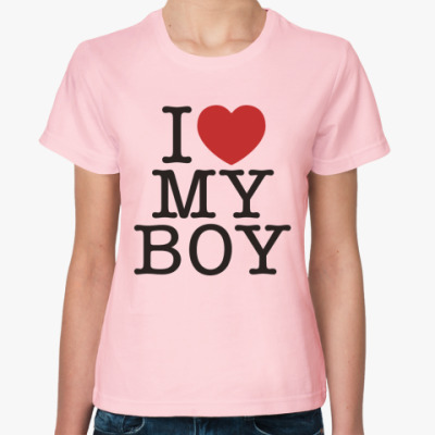 Женская футболка I love my boy
