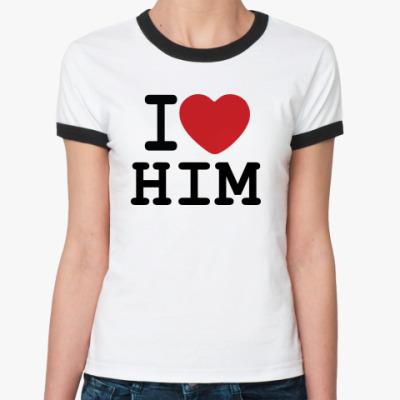 Женская футболка Ringer-T Романтичный принт I LOVE HIM