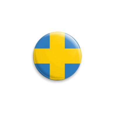 Значок 25мм  «UKRAЇNA-SVERIGE-CROSS»