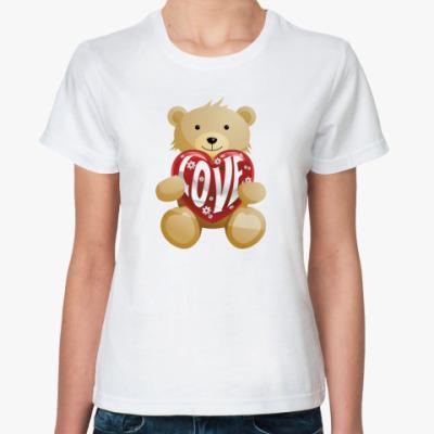 Классическая футболка Медведь с сердцем