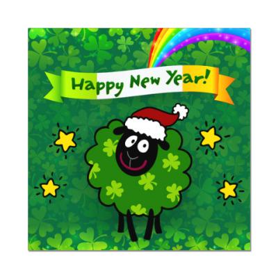 Наклейка (стикер) Новогодняя овечка