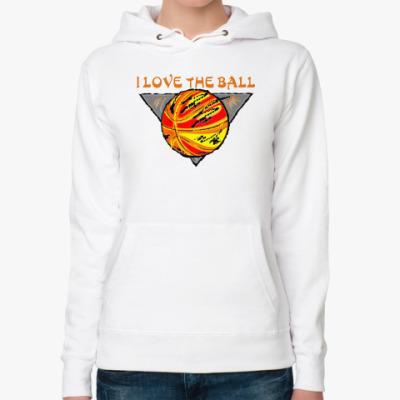 Женская толстовка худи I Love The Ball
