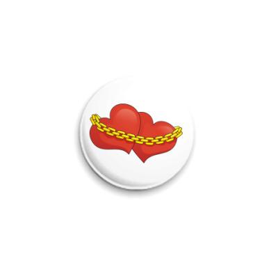 Значок 25мм Сердца и цепь