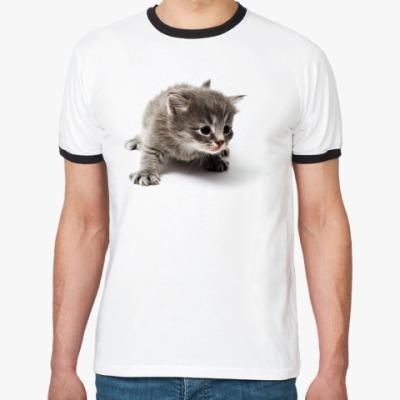 Футболка Ringer-T Любопытный котенок