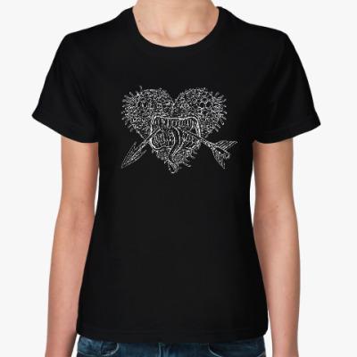 Женская футболка Черный юмор и любовь