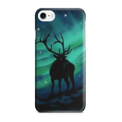 Чехол для iPhone 7/8 Северное сияние и олень
