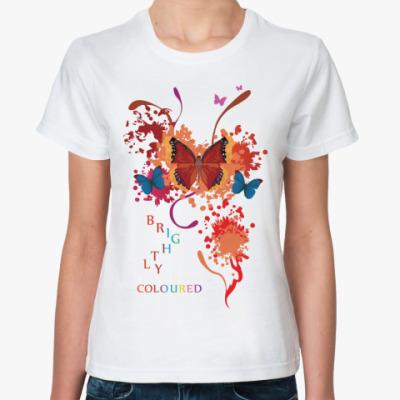 Классическая футболка Яркие бабочки