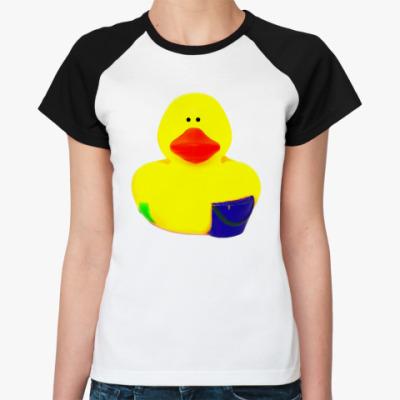 Женская футболка реглан Просто утка (с ведром)