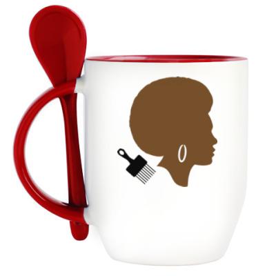 Кружка с ложкой Afro Lady