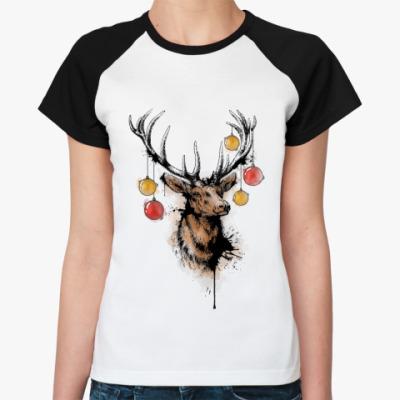 Женская футболка реглан новогодний олень
