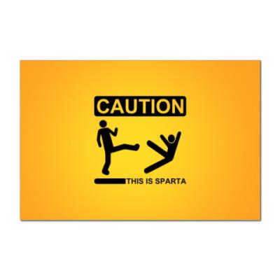 Наклейка (стикер) CAUTION: This is SPARTA!!