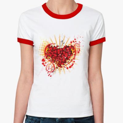 Женская футболка Ringer-T СЕРДЦА