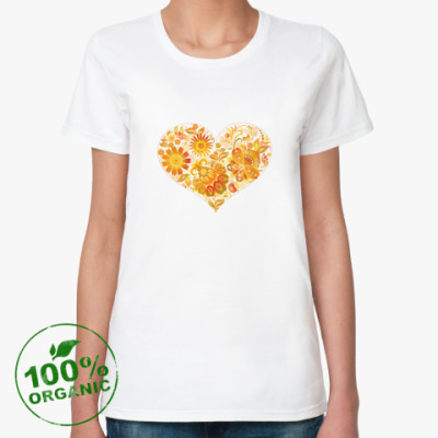 Женская футболка из органик-хлопка Цветочное сердце