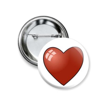 Значок 37мм Сердце