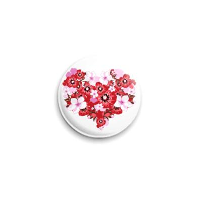 Значок 25мм Цветочное сердце
