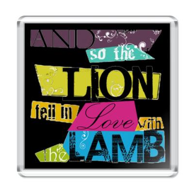 Магнит Lion and lamb bright