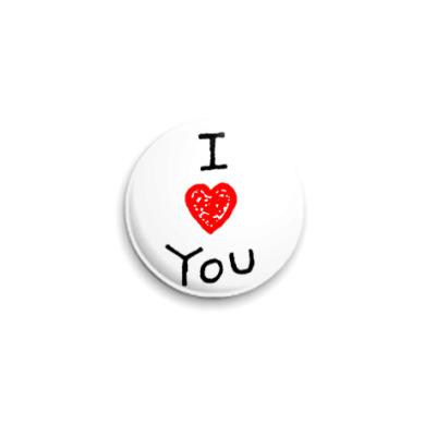 Значок 25мм I love You