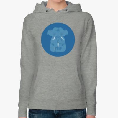 Женская толстовка худи Animal Zen: E is for Elephant