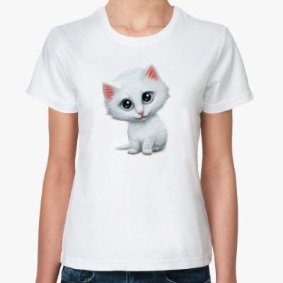 Классическая футболка Внимательный котик