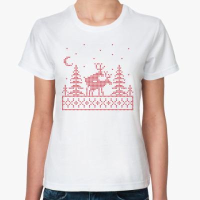 Классическая футболка Олени в лесу