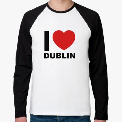 Футболка реглан с длинным рукавом I love Dublin