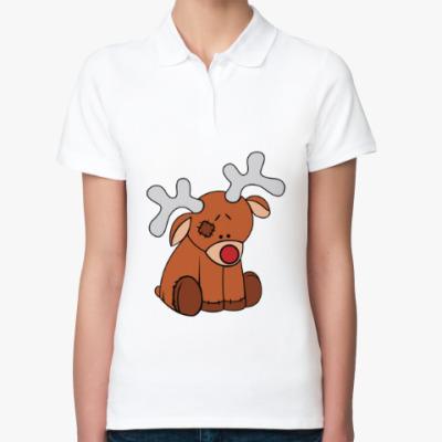 Женская рубашка поло Новогодний олень Teddy