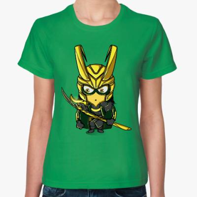 Женская футболка Миньон Локи