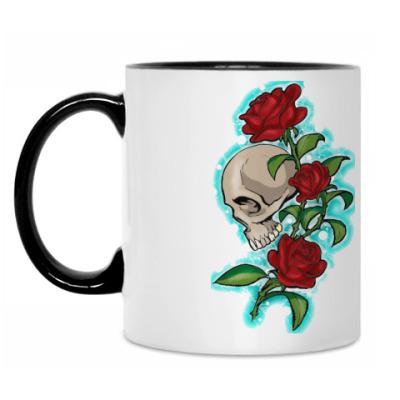 Кружка череп и розы