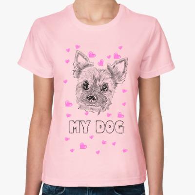 Женская футболка Love my little dog