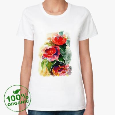 Женская футболка из органик-хлопка Роскошные пионы