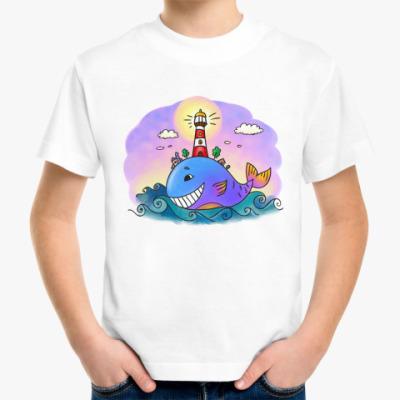 Детская футболка  «Кит и маяк»