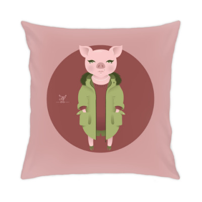 Подушка Animal Fashion: P is for Pig in parka