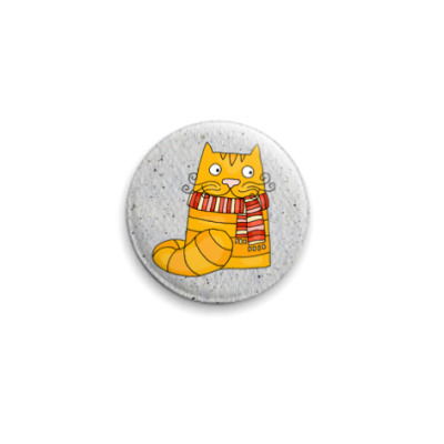 Значок 25мм рыжий кот