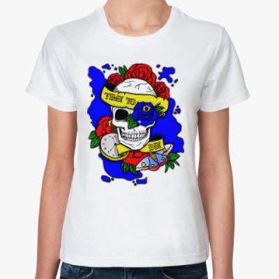 Классическая футболка Череп Time to Die