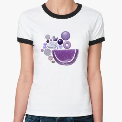 Женская футболка Ringer-T 'Индиго конфеты'