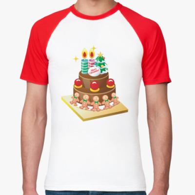 Футболка реглан Рождественский торт