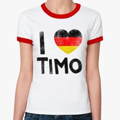 Женская футболка Ringer-T I LOVE TIMO