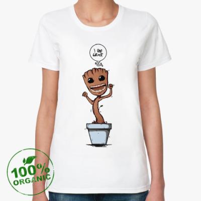 Женская футболка из органик-хлопка Грут из Стражей Галактики
