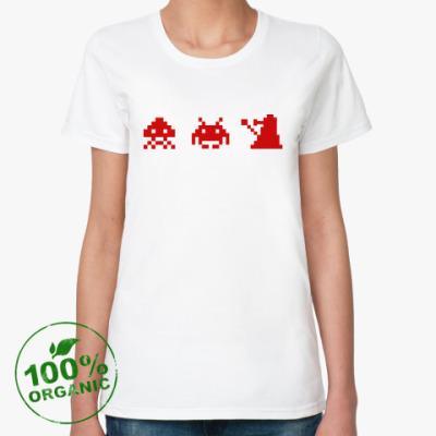 Женская футболка из органик-хлопка Dalek & Space Invaders