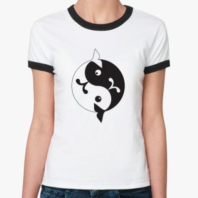 Женская футболка Ringer-T  'Инь-ян киты'