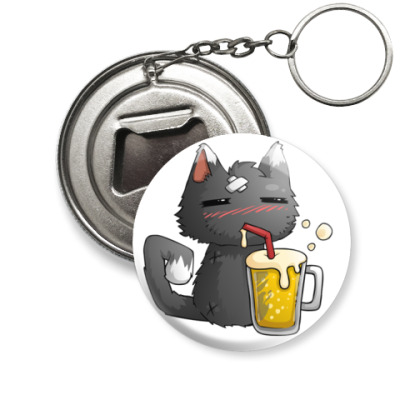 Брелок-открывашка Пьющий кот