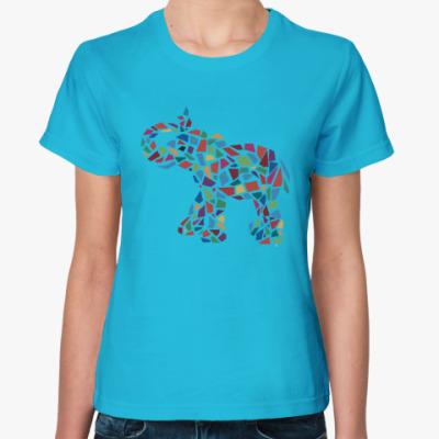Женская футболка Слон - мозаика