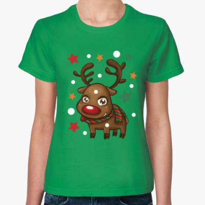 Женская футболка Олень со звёздами