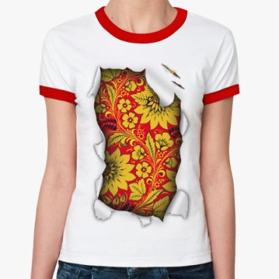Женская футболка Ringer-T  'Русский орнамент'