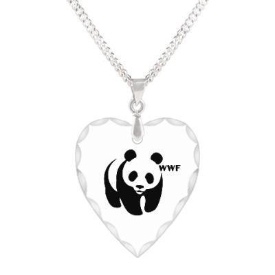 Кулон 'сердце' WWF. Панда с лого